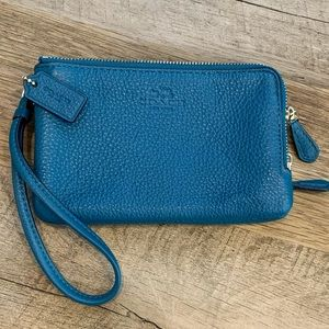 Coach Wristlet Double Zip Wallet—Teal/Turquoise